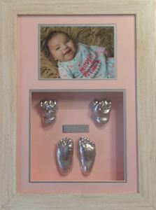 Shabby White Frame with Pink Silver Pink Mat Combo.