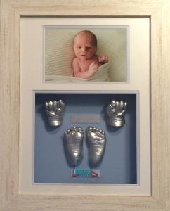 Shabby White Frame with White , Pale Blue and Blue with double plaque.